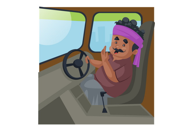 Truck driver sitting in the truck and holding steering with one hand Illustration