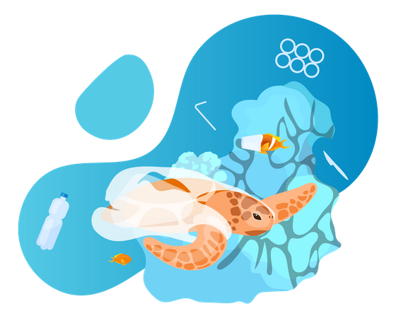 Turtle in ocean with plastic waste Illustration