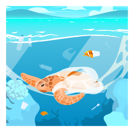 Turtle trapped in plastic garbage Illustration