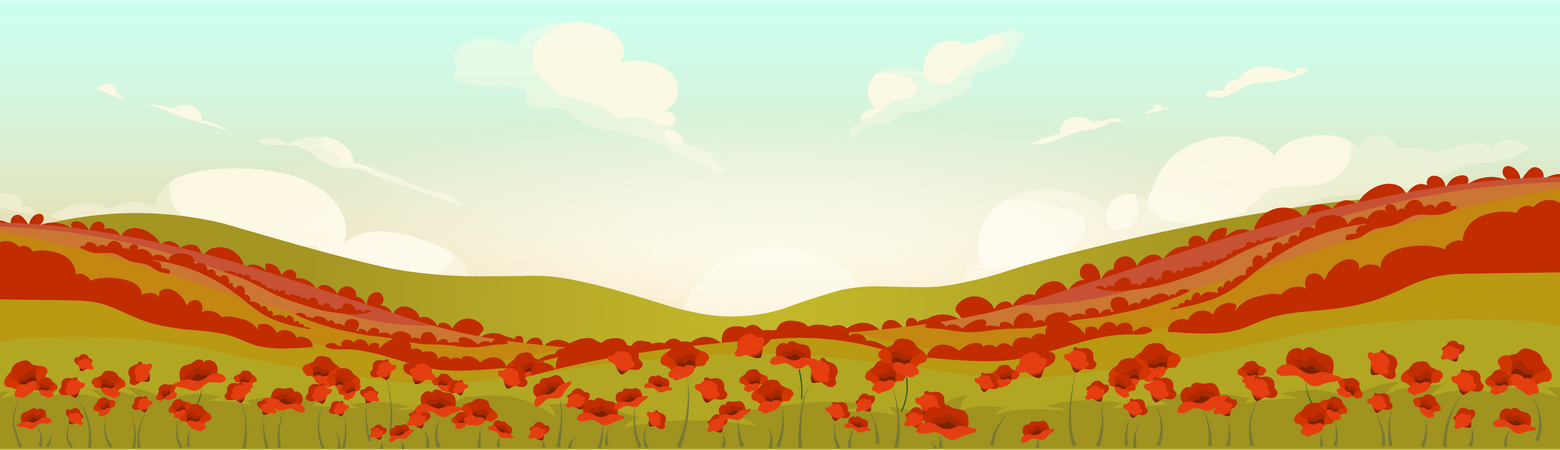 Tuscan Poppy Field At Sunrise Illustration