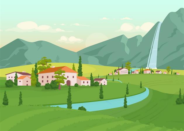 Tuscany scenery Illustration