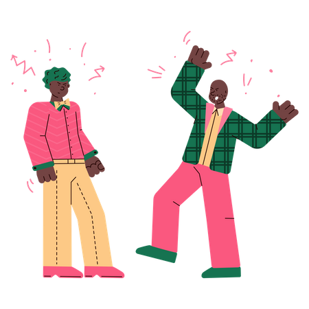 Two angry men arguing with each other Illustration