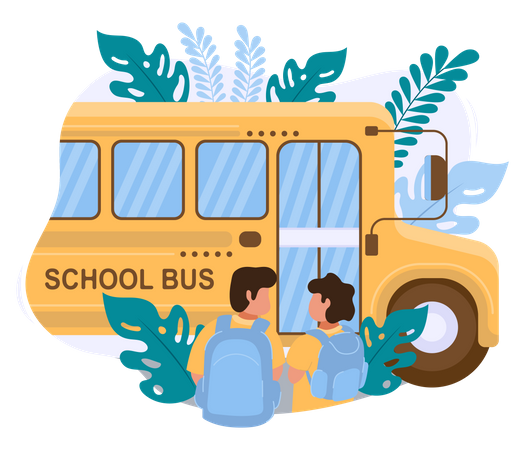 Two boys go to school by school bus Illustration