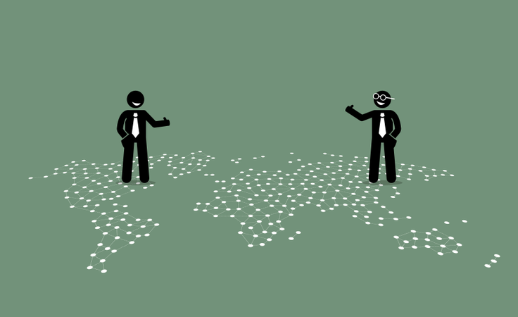 Two businessman of different countries giving thumb up to each other on top of a world map Illustration