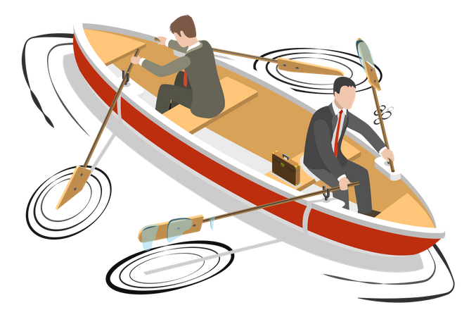 Two businessmen in are sitting the same boat try to move it in the different directions Illustration