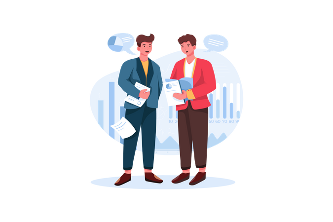Two businessmen talking about marketing and finance topic Illustration
