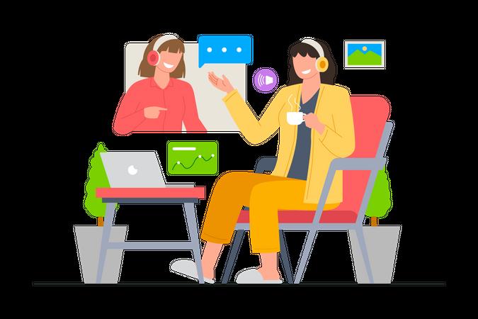 Two businesswomen meeting via video call Illustration