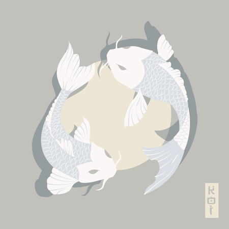 Two carp koi fish swimming around Sun, traditional Japanese style Illustration
