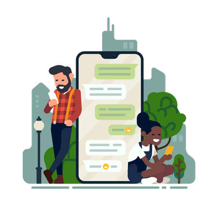 Two characters chatting via smartphone app Illustration