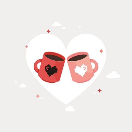 Two Coffee cup With Love Illustration