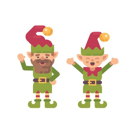 Two Cute Christmas Elves Illustration