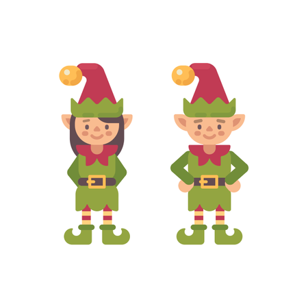 Two Cute Christmas Elves, Male And Female Illustration