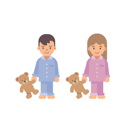 Two Cute Little Kids In Pajamas Holding Teddy Bears Illustration