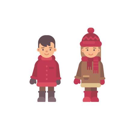 Two Cute Little Kids In Winter Clothes Illustration