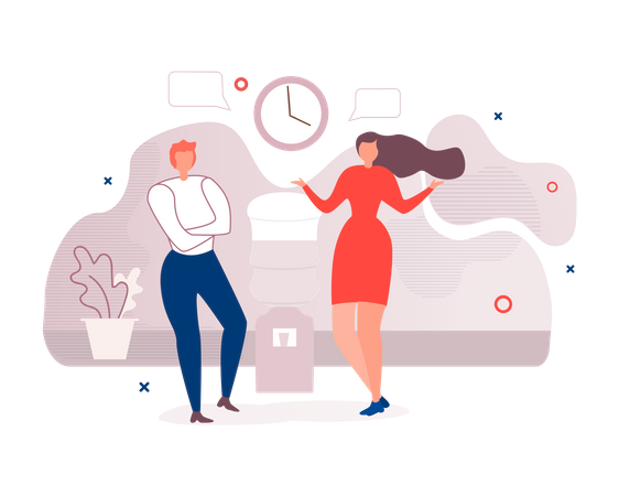 Two Diverse Office Workers doing Informal Conversation Illustration
