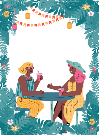 Two female friends relaxing on summer vacation Illustration