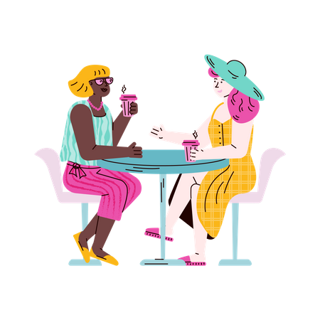 Two female friends sitting at table drinking coffee and talking Illustration