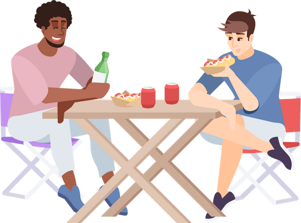 Two friends enjoying lunch at campsite Illustration