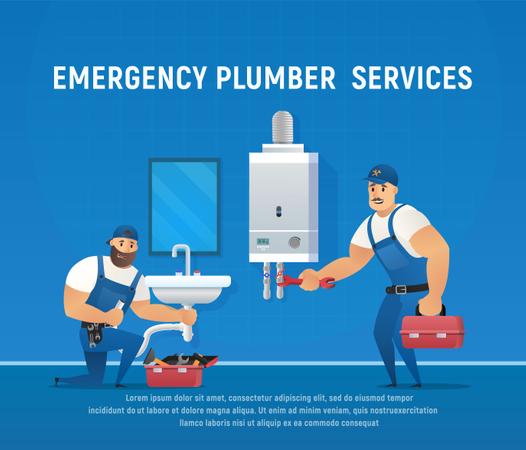 Two Funny Plumbers Repair Pipe and Boiler Maintenance Illustration