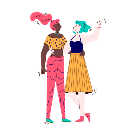 Two girl talking with each other Illustration