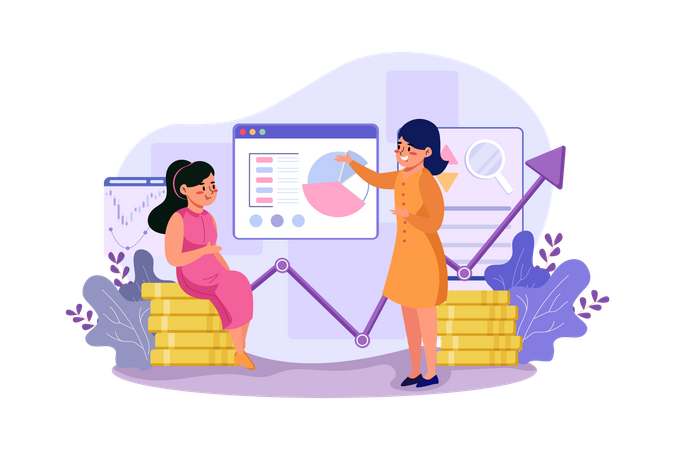 Two girls are exploring the benefits of the stock market Illustration