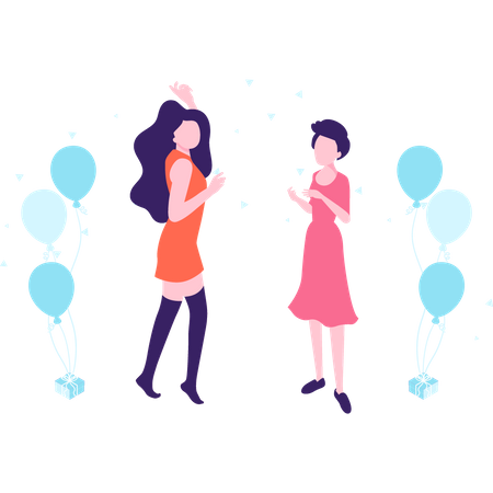 Two girls gossiping at the party Illustration