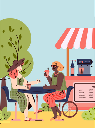 Two girls having drink and talking Illustration