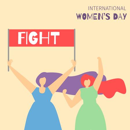 Two girls holding fight banner Illustration