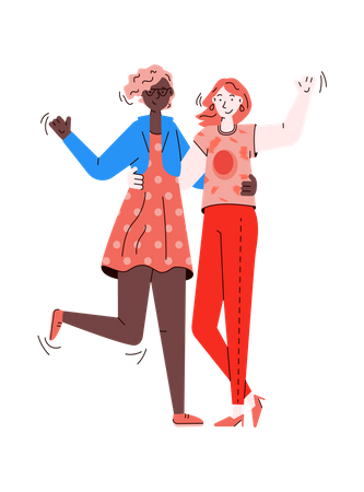 Two girls hugging each other Illustration