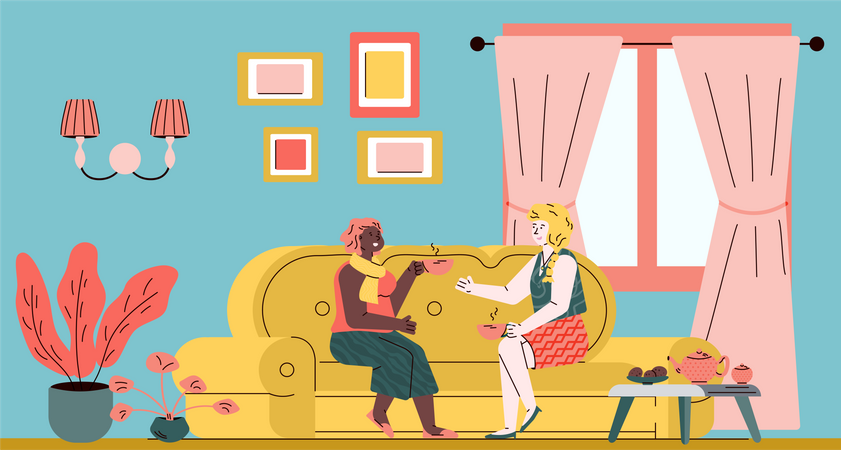 Two happy female friends drinking tea on sofa in cozy living room interior Illustration
