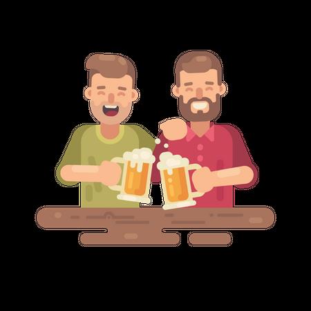 Two happy men drinking beer Illustration
