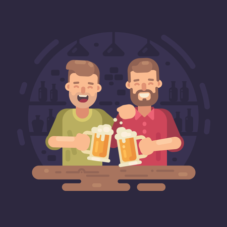 Two happy men drinking beer in a bar Illustration