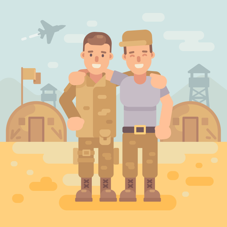 Two Happy Soldier Friends In A Military Camp Flat Illustration With Army Scene Background Illustration