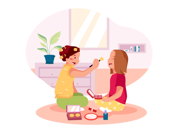 Two little girls playing with beauty toys Illustration