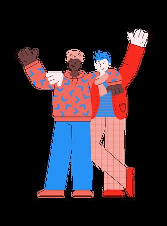 Two male best friends Illustration