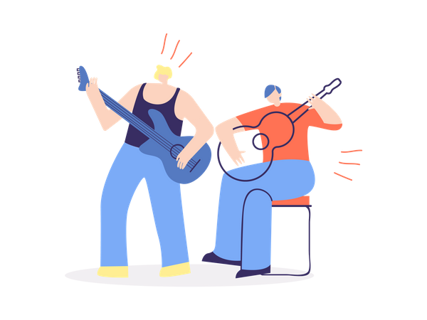 Two male guitarist playing guitar Illustration