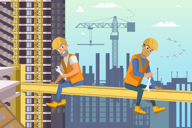 Two Man Builders Sit on Beam above House construction Illustration