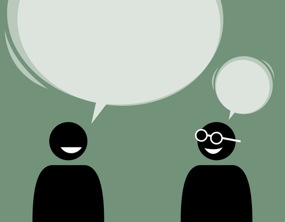 Two man friends talking and agree with each other Illustration