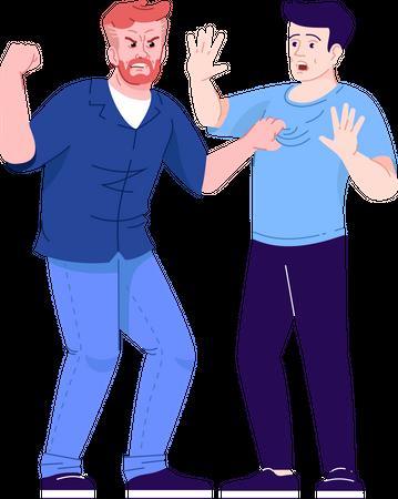 Two men fighting Illustration
