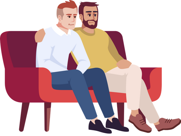 Two men sitting on couch Illustration