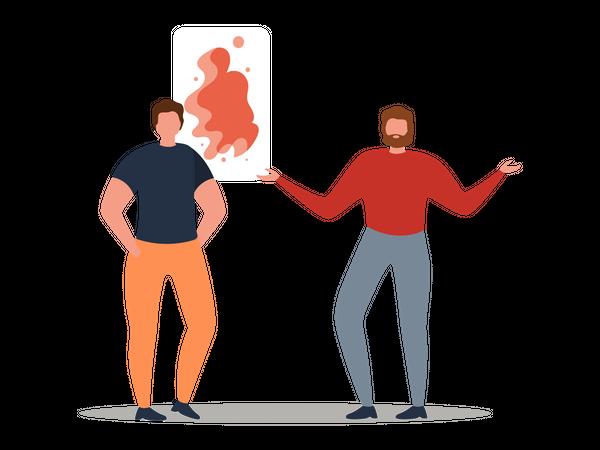 Two men standing in art gallery Illustration