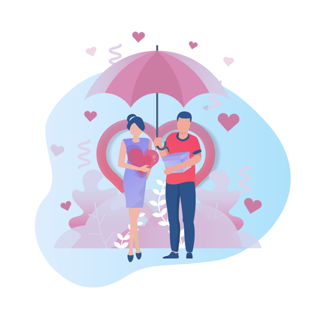 Two people falling in love Illustration