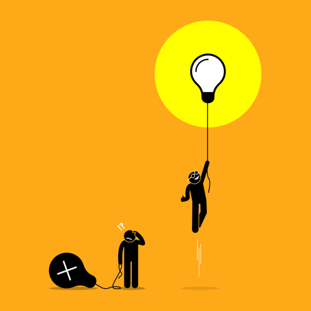 Two person created different ideas but only one is having success, while the other fails Illustration