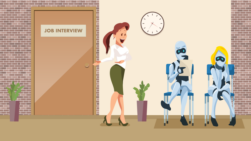 Two Robot Waiting for Job Interview in Office Illustration