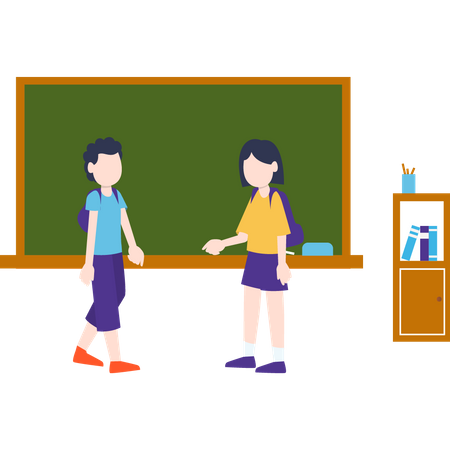 Two students standing in the classroom Illustration