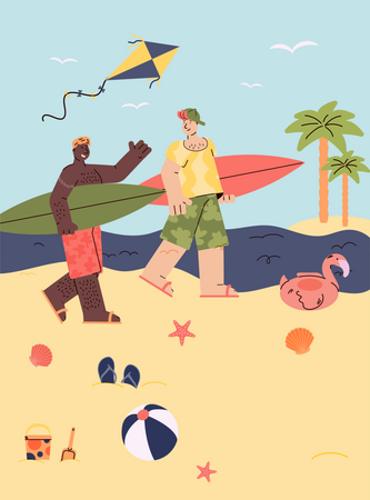 Two surfer man on vacation walking with surfboards Illustration