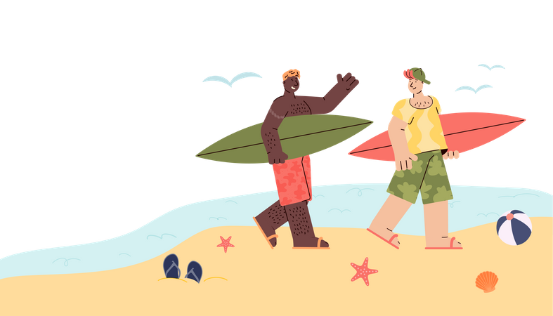 Two surfer men on vacation walking with surfboards Illustration