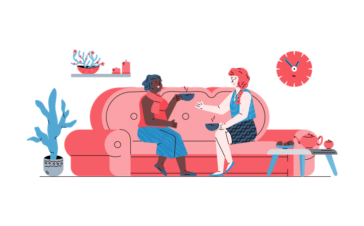 Two women communicating sitting on sofa in friendly and comfy environment Illustration