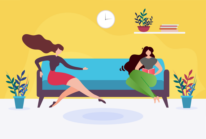 Two Women sitting in Waiting Room Illustration