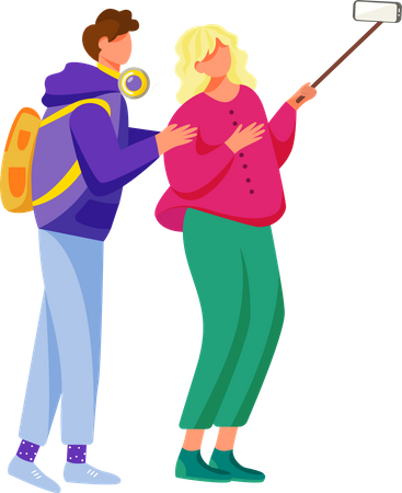 Two young friends capturing fun moments of life Illustration